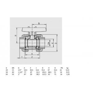 PVC kulový ventil, ø 63 mm, typ S6, připojení lepení x lepení